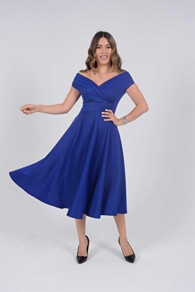 giyimmasalı Kayık Yaka Midi Elbise - Sax