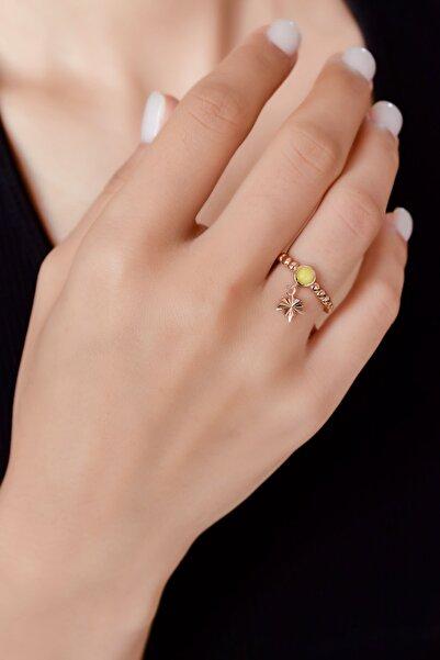 Papatya Silver 925 Ayar Gümüş Sarı Ay Taşlı Çınar Motifli Ayarlanabilir Kadın Yüzük