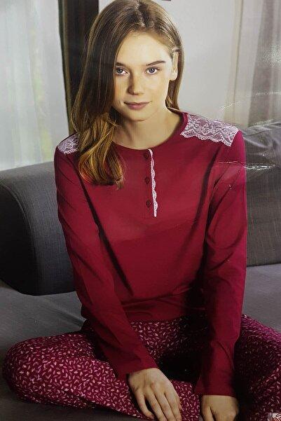 Aydoğan Homewear Modal Kadın Omuzu Dantel Uzun Kol Pijama Takımı