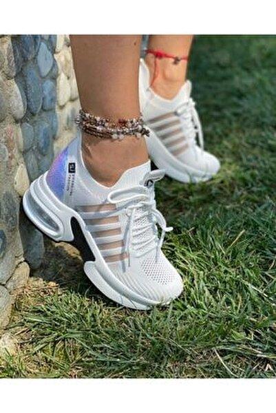 Beyaz Kalın Taban Sneaker