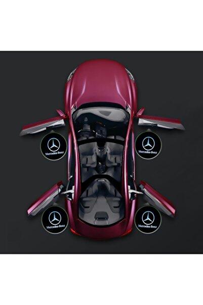 Waxen Mercedes Kapı Altı Pilli Led Logo Hd Lens Karanlık Ve Mesafe Sensörlü Led Işıklı Lamba