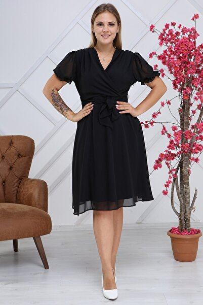 apsen Kadın Bağlama Detaylı Büyük Beden Kruvaze Şifon Elbise 4255/110