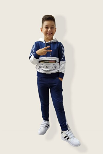 shopshop Şık Model Mavi Beyaz Renk Kapüşonlu Erkek Çocuk Eşofman Takımı