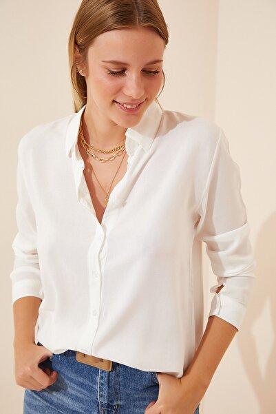 Happiness İst. Kadın Beyaz Basic Viskon Gömlek EN00514