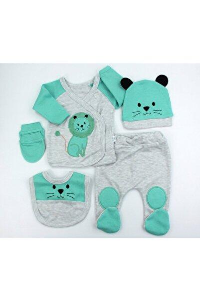 VERONA TARZ Aslanlı Erkek Bebek 5li Hastane Çıkış Seti Yenidoğan Kıyafeti