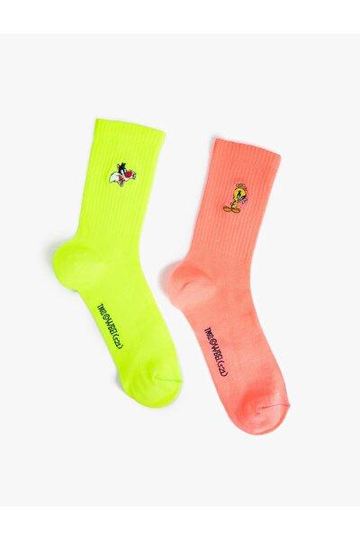 Koton Kadin Warner Bros Lisansli Tweety Baskili Soket Çorap Seti 2'li