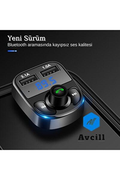 All Avcill Car X8 Araç Fm Transmitter 5.0 Bluetooth Araç Kiti Usb Mp3 Sd Kart Çakmaklık Girişli Oto Müzik Çalar