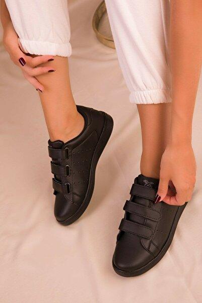 NOVİNS Kadın Siyah Cırt Cırtlı Sneaker