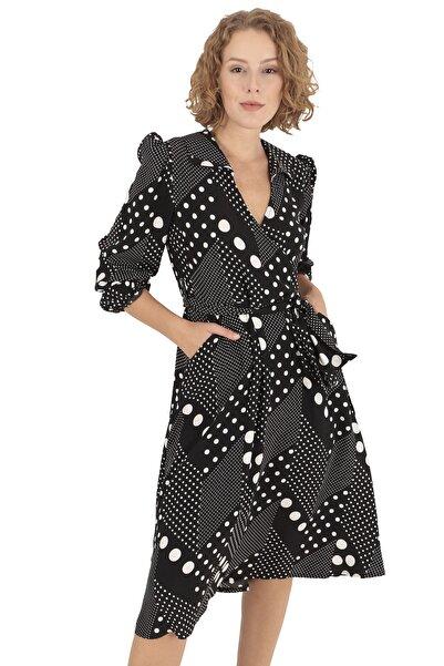 BUKETLİ Kadın Puantiyeli Kuşaklı Midi Elbise