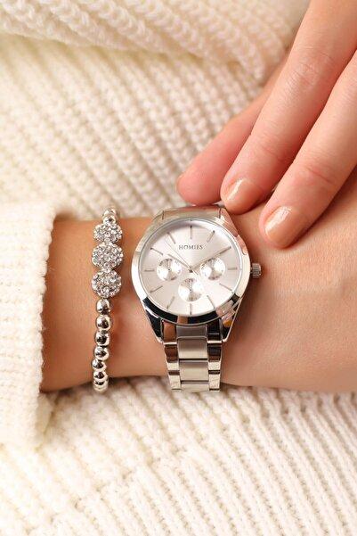 Homies Gümüş Renk Kadın Kol Saati (bileklik Hediyeli)