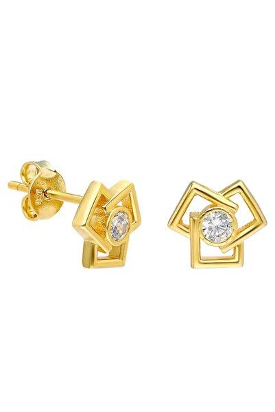 Tesbihane Zirkon Taşlı Üçlü Kare Tasarım Gold Renk 925 Ayar Gümüş Küpe