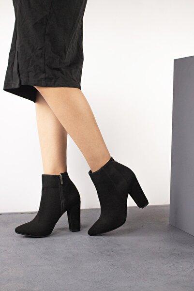 Gökhan Talay Siyah Süet Kadın Topuklu Bilek Bot