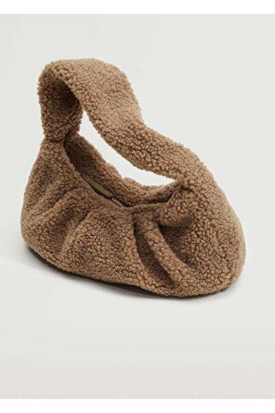 MANGO Woman Kadın Açık/Pastel Kahverengi Suni Kürklü Dokuma Çanta