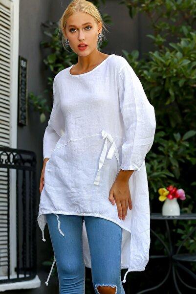 Chiccy Kadın Beyaz İtalyan Sıfır Yaka Fiyonklu Uzun Kol Etek Ucu Büzülebilen Keten Tunik M10010500TN99615