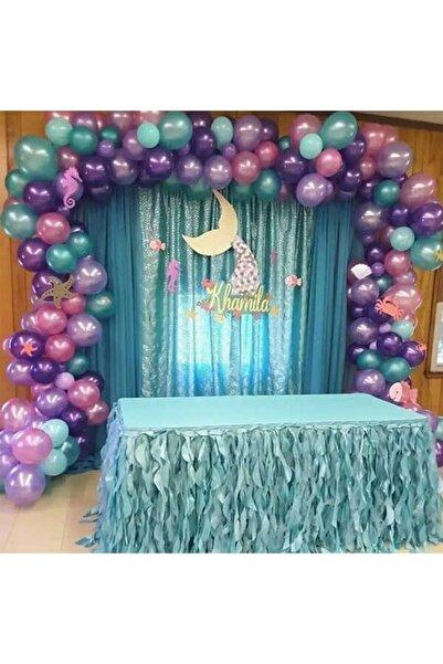 Aşkın Parti Evi Deniz Kızı Metalik Balon Ve Balon Zincir Seti