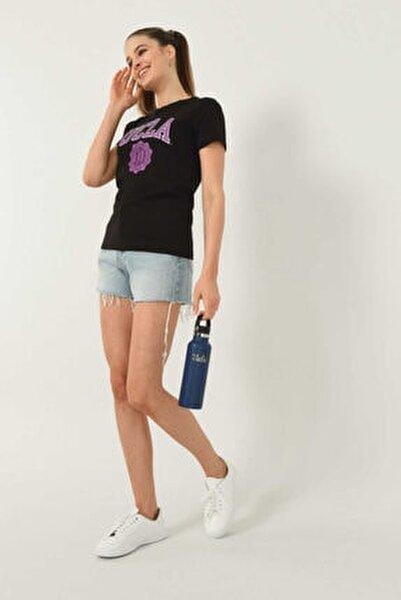 Kadın  Carmel Siyah Bisiklet Yaka Baskılı T-shirt