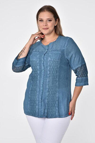 FELİCE Büyük Beden Yıkamalı Otantik Gömlek Bluz