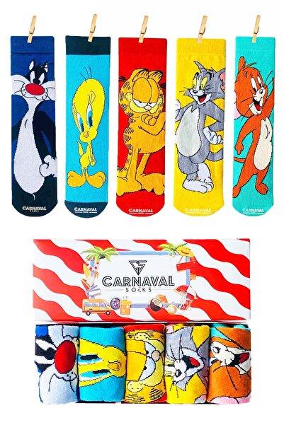 CARNAVAL SOCKS 5'li Çizgi Film Kahramanlar Desenli Renkli Çorap Kutusu