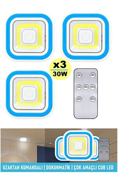 yopigo 30w Pilli Uzaktan Kumandalı 3'lü Kablosuz Işıldak Led Spot Çadır Lamba El Feneri Kamp Feneri Işıldak