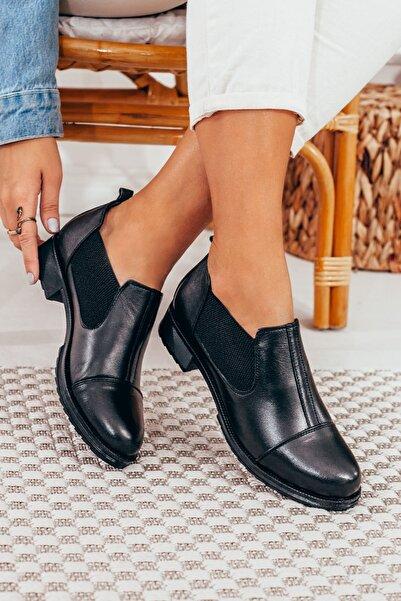 DERİMİSS Siyah Hakiki Deri Bağcıksız Günlük Kadın Ayakkabı • A212kıvk0011