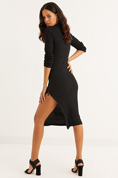 Cool & Sexy Kadın Siyah Yanı Fermuarlı Kaşkorse Midi Elbise CHB53