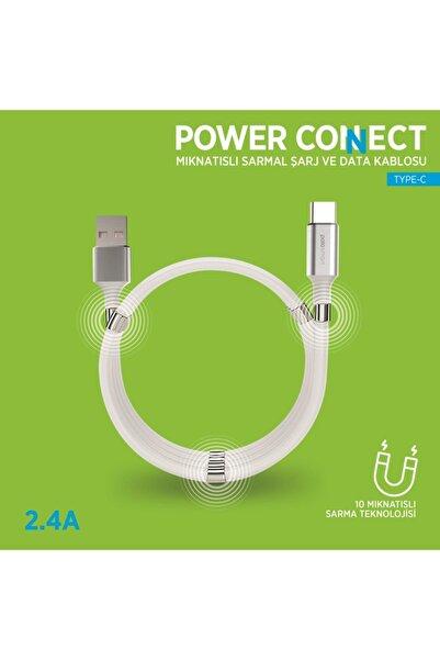 Polosmart Psm67 Type C Mıknatıslı Sarmal Şarj Ve Data Kablosu 1 Metre Beyaz