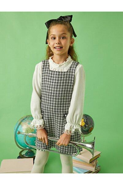 Koton Kız Çocuk Beyaz Dik Yaka Firfirli Volanli Bluz
