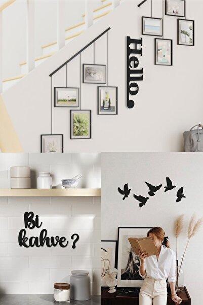 Bold Grup Bi Kahve ? + Hello + 5'li Kuş 3ü1 Arada Ev Mutfak Salon Dekorasyonu Tablo Duvar Yazısı Set