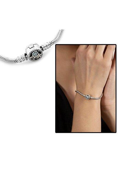 Tesbihane Zirkon Taşlı Kır Çiçeği Tasarım 925 Ayar Gümüş Pandora Kadın Bileklik