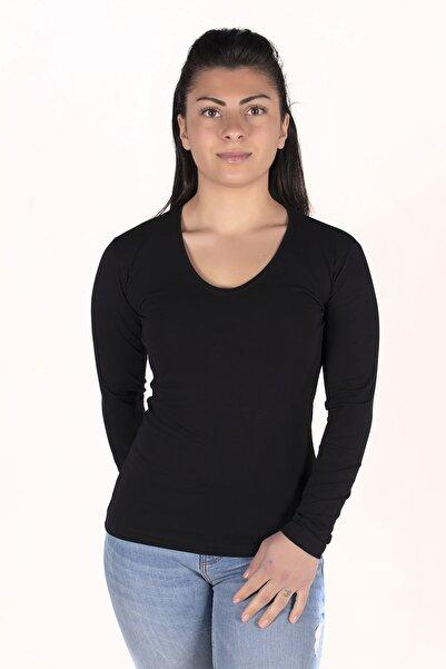 moda felinya Kadın Siyah Uzun Kollu V Yaka Body