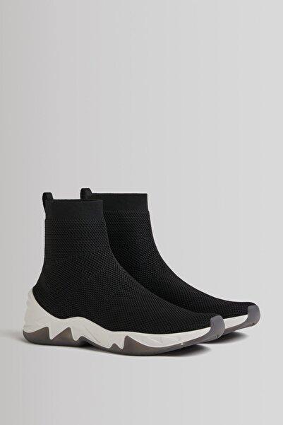 Bershka Çorap Model Örgü Yüksek Bilekli Spor Ayakkabı