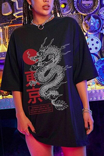 LEGION Kadın Siyah Oversize Dragon Baskılı T-shirt