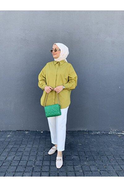 Quzu Tuhara Butik Yağ Yeşili Basic Gömlek