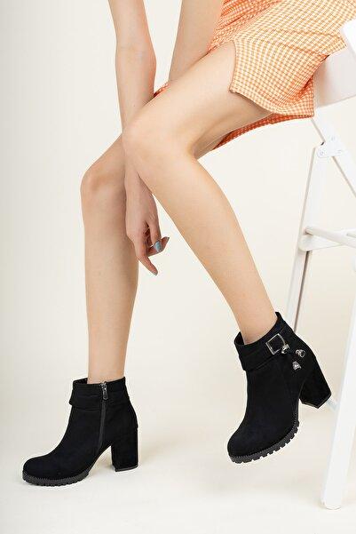 meyra'nın ayakkabıları Siyah Süet Yanı Tokalı Bot