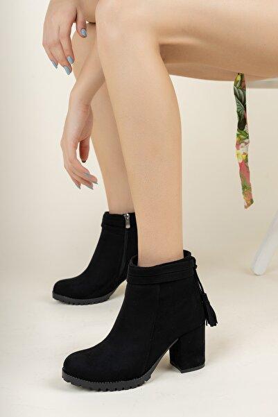 meyra'nın ayakkabıları Siyah Süet Püsküllü Bot