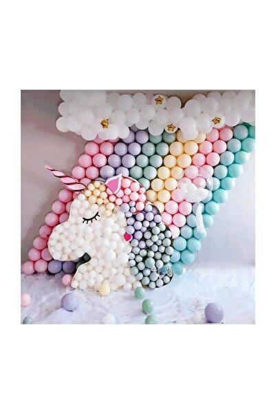 as balon 100 Adet Makaron Balon + 5 Mt. Balon Zinciri + Balon Pompası, Karışık Soft Renk Pastel Balon