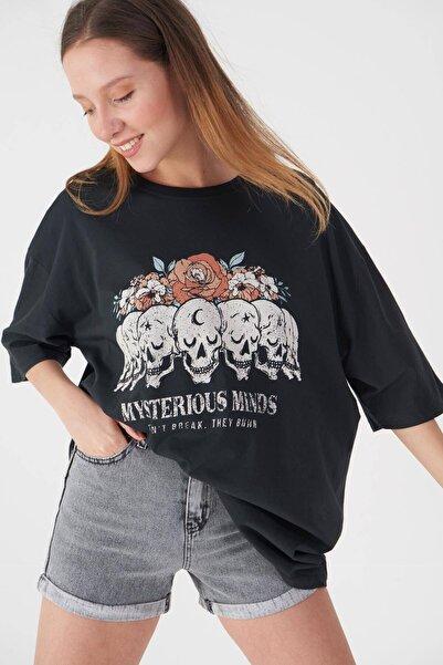 Addax Baskılı T-shirt P9371 - B11