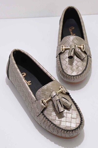 Bambi Altın Kadın Loafer Ayakkabı K01542030810