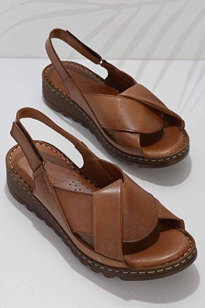 Bambi Taba Hakiki Deri Kadın Sandalet K05907001803