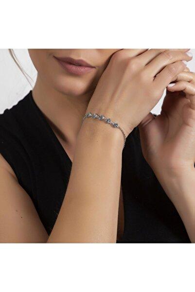 Tesbihane Multicolor Zirkon Taşlı Zarif Tasarım 925 Ayar Gümüş Su Yolu Kadın Bileklik