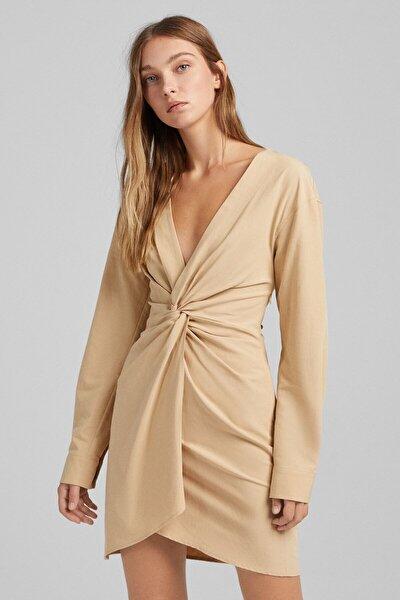 Bershka Uzun Kollu Düğümlü Pamuklu Keten Elbise