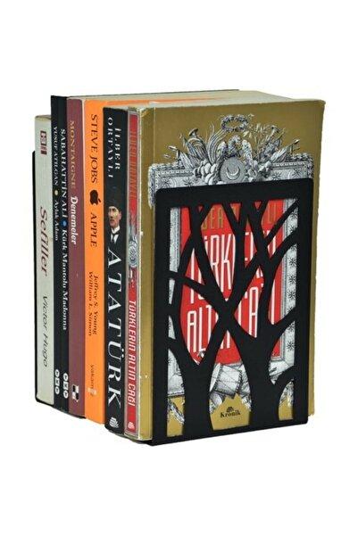 YENİ HALI ÖRTÜSÜ Ağaç Desenli Kitap Desteği - Kitap Tutucu - Ev Ve Ofis Dekoratif Aksesuar( 2 Li Set) Siyah