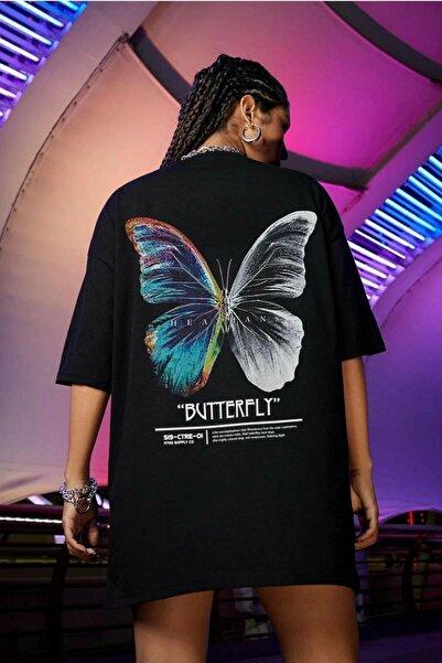 LEGION Kadın Siyah Butterfly Oversize T-shirt