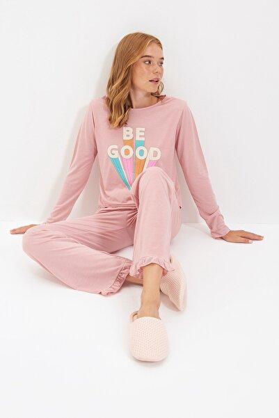 TRENDYOLMİLLA Pudra Baskılı Örme Pijama Takımı THMAW21PT0270