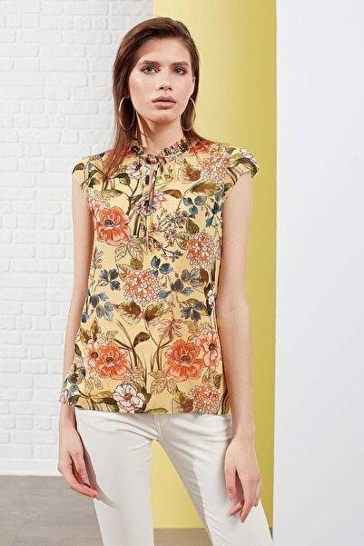 Journey Kadın Çiçekli Sarı Bluz