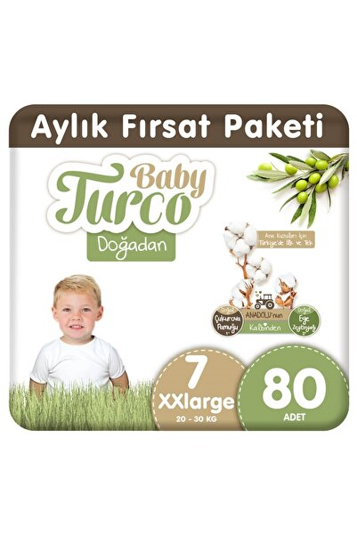 Baby Turco Doğadan Bebek Bezi 7 Numara Xxlarge 80 Adet