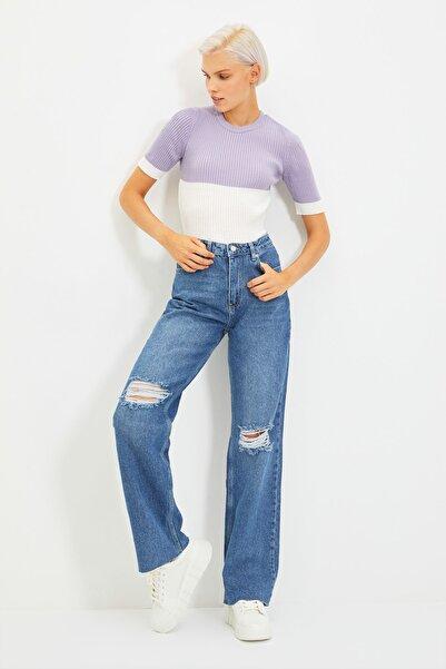 TRENDYOLMİLLA Koyu Mavi Yırtık Detaylı Yüksek Bel Wide Leg Jeans TWOAW21JE0539