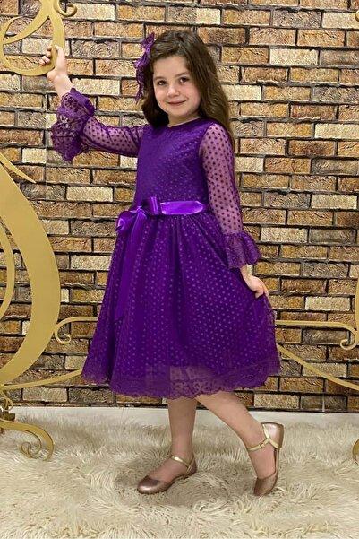 Mnk Mor Fransız Dantel Tokalı Kız Çocuk Elbise