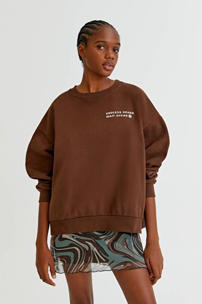 Pull & Bear Sırtı Grafik Logolu Sweatshirt