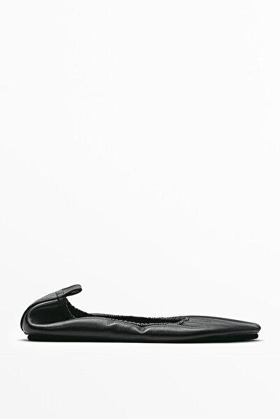 Massimo Dutti Kadın Siyah Büzgülü Deri Babet Ayakkabı 11548850